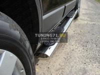 Пороги овальные с накладкой 120х60 мм Chevrolet Captiva 2006-2011